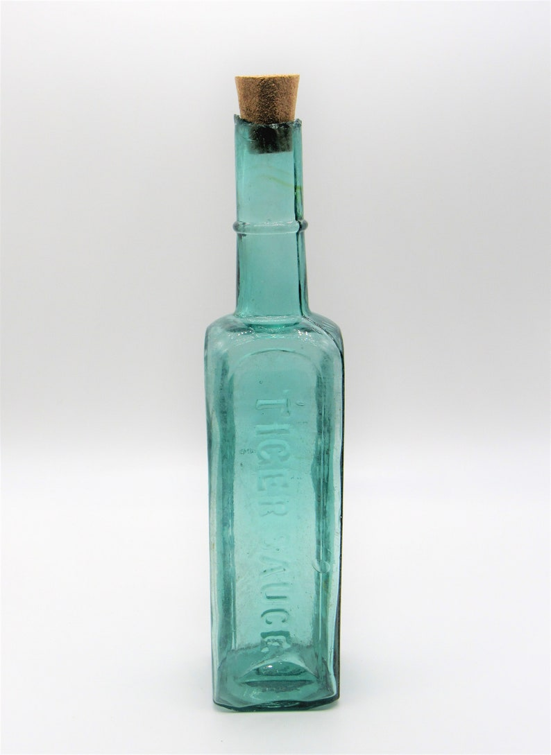 Antique Glass Bottle Stopper Teal