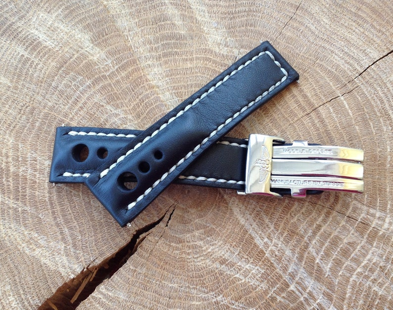 Buckle Clasp for BREITLING Navitimer strap 22//24m Blue leather Band HANDMADE