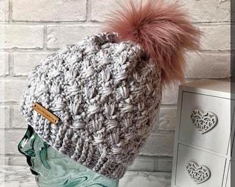 dbef7f71e43dd Crochet Pom Hat Pattern   Womens Crochet Hat Pattern   Crochet Beanie Hat  Pattern   Winter Hat Pattern   SHERWOOD BEANIE   Crochet Pattern