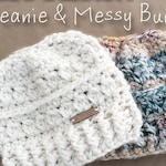 MESSY BUN Hat Pattern, Crochet Pattern, Crochet Hat Pattern, Messy Bun Beanie, Ponytail Beanie, Bun Hat Pattern, SNOWDRIFT Beanie, Puff