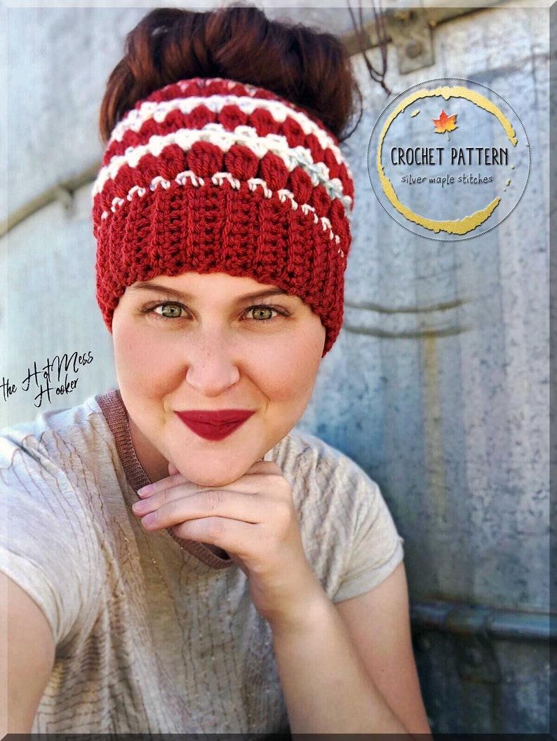 SNOWDRIFT MESSY BUN Hat Pattern Crochet Pattern Crochet Hat image 0