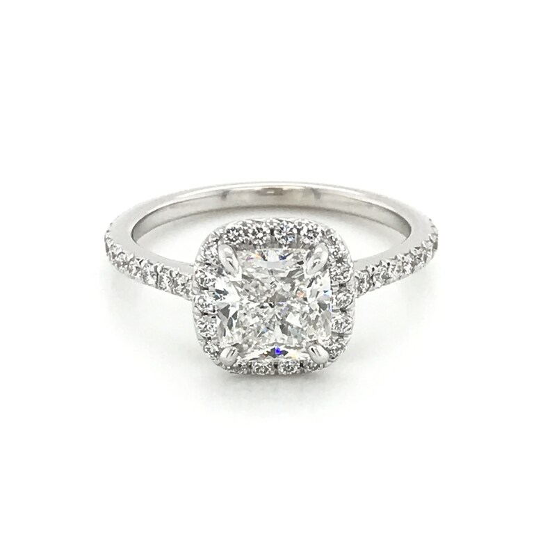 Cushion Cut Halo Diamond Engagement Ring In 14kt White Gold Gia Certified 1 70ct Center E Vs2 Halo Ring Micropave Ring Micropave Halo