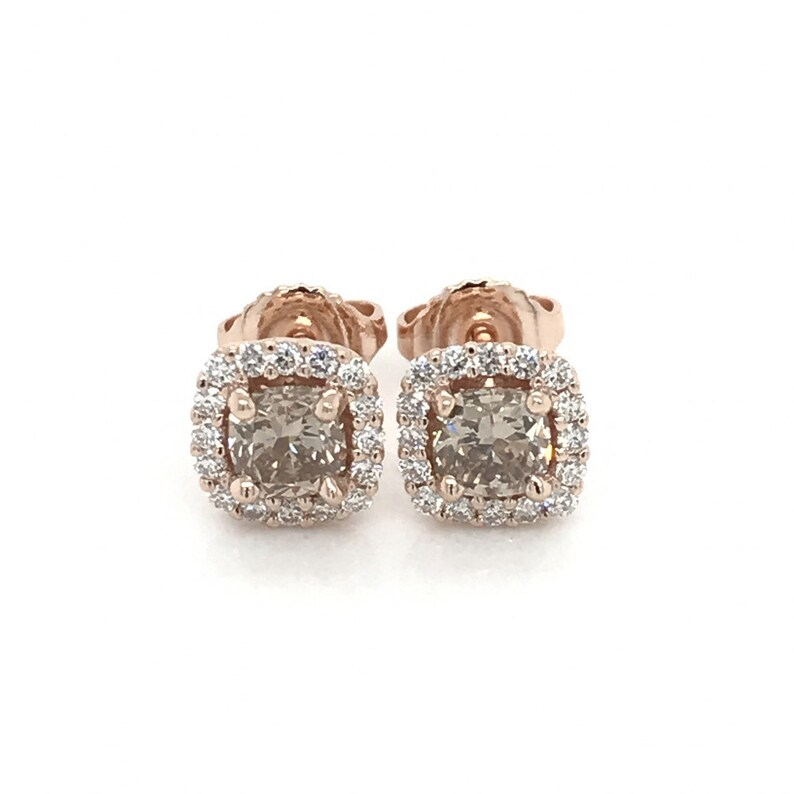 63c4cd4d2ac8a Cushion Cut Diamond Halo Stud Earrings in 14kt. Rose Gold (1.30ct. tw.)  Cushion Cut Diamond, Halo Earrings, Champagne Diamond, Diamond Halo