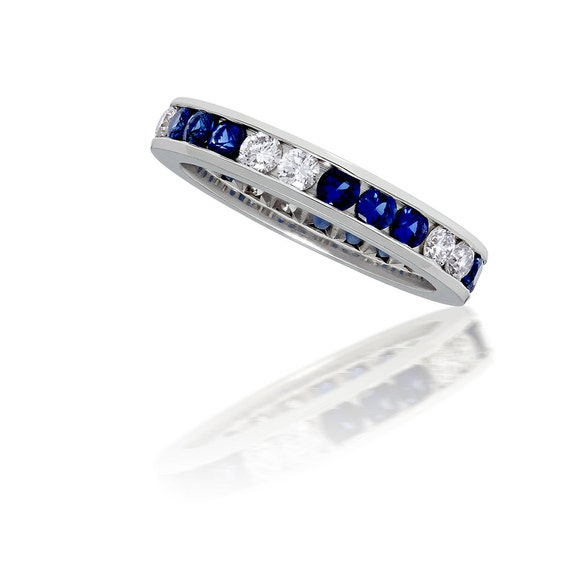 0.60 ct Round Blue and Red Gemstone Eternity Wedding Band 14k White Gold Over