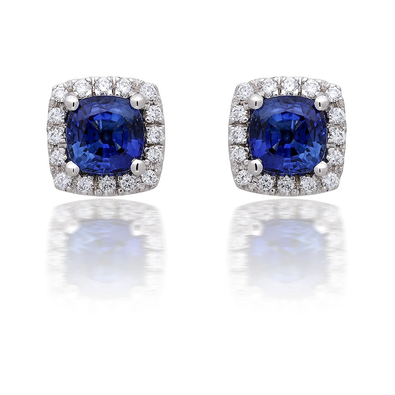 1a550b51c0211 Cushion Cut Sapphire and Micropave Diamond Earrings in 14k White Gold  (2.76ct tw.), Blue Sapphire, Cushion Cut, Halo Earrings