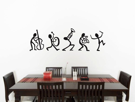 Music stick men bedroom wall art sticker picture decal etsy - Mens bedroom wall art ...