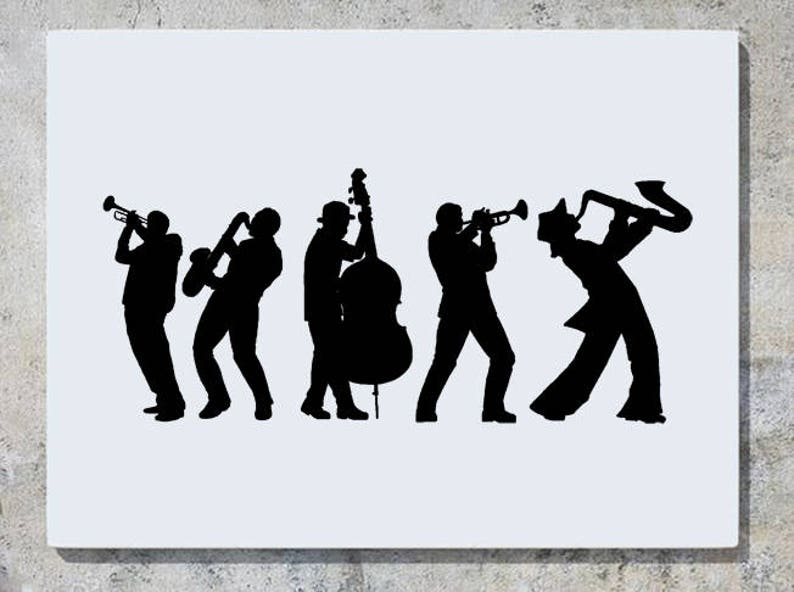 Jazz Band Instruments Silhouette - Children's Bedroom / Nursery Wall Art  Sticker Picture Decal