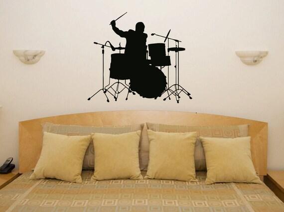 Batteria musica batterista cucina camera da letto Wall Sticker Art Foto  Decal