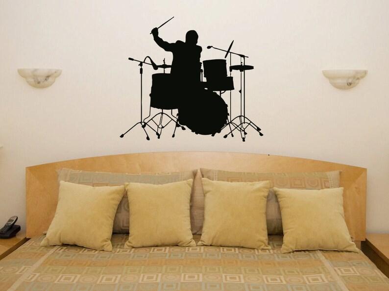 Batteria musica batterista cucina camera da letto Wall Sticker | Etsy