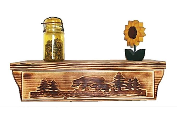 "17 1/2"" Wooden Wall Shelf Bear Carving Hidden Compartment"