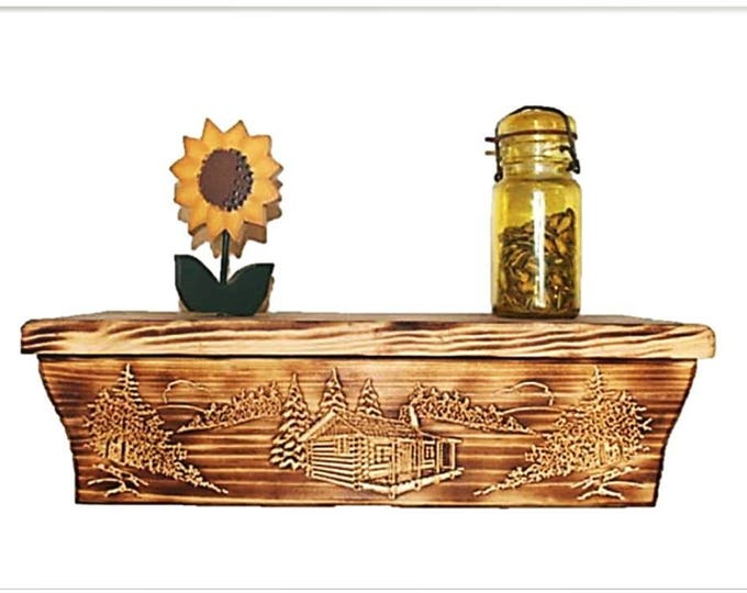 "17 1/2"" Wooden Wall Shelf Cabin Carving Hidden Compartment"