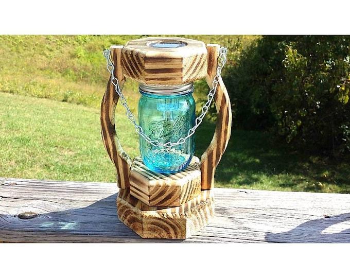 Blue Pint Mason Jar Solar Lantern