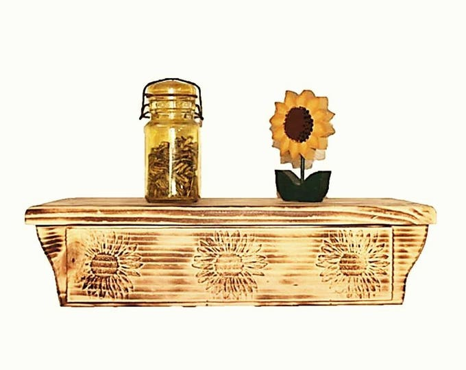 "17 1/2"" Wooden Wall Shelf Sunflower Carving Hidden Compartment"