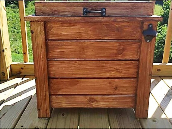 30 Qt Cooler Wood Ice Box Ice Chest Outdoor Cooler Deck
