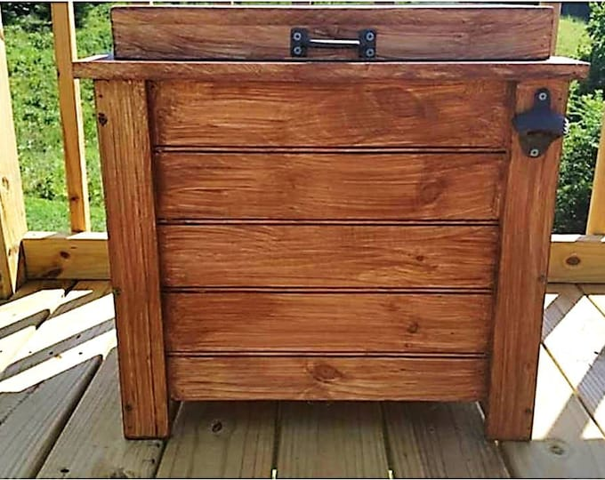 30 qt Cooler Wood Ice Box Ice Chest