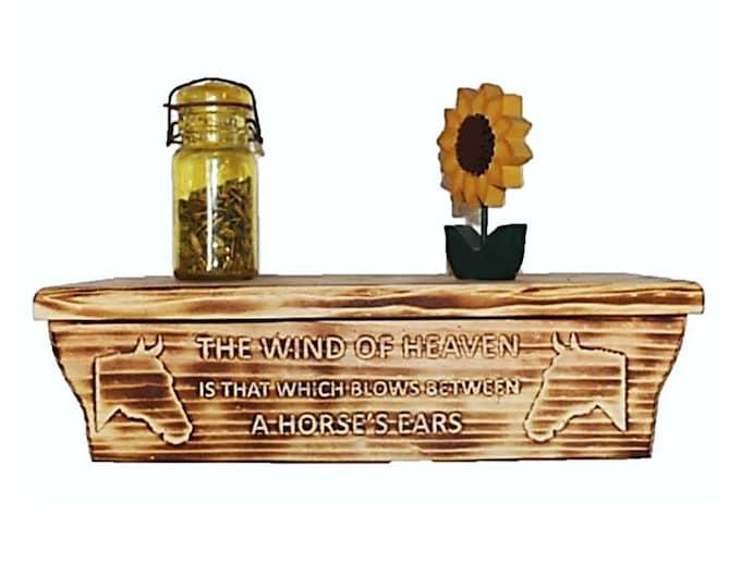 "17 1/2"" Wooden Wall Shelf Horse Carving Hidden Compartment"