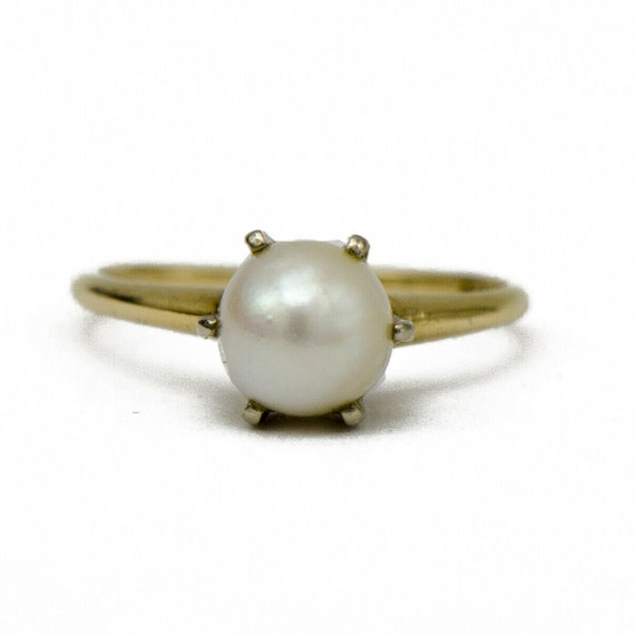 18k Gold Pearl Solitaire Ring - image 1