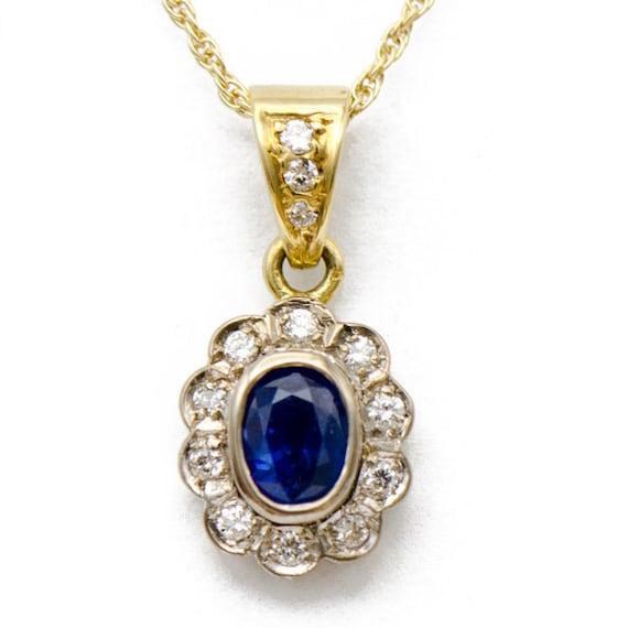 Vintage Sapphire Halo Pendant