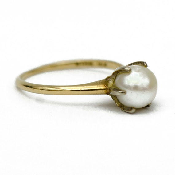 18k Gold Pearl Solitaire Ring - image 2