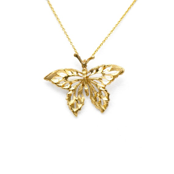 Vintage 14k Yellow Gold Butterfly Charm