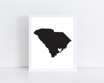 South Carolina map  -  Usa Printable art , Instant download, Wall art deco , PDF