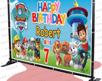 Paw Patrol Birthday Banner Party Backdrop Decoration Poster Sign Design C kid