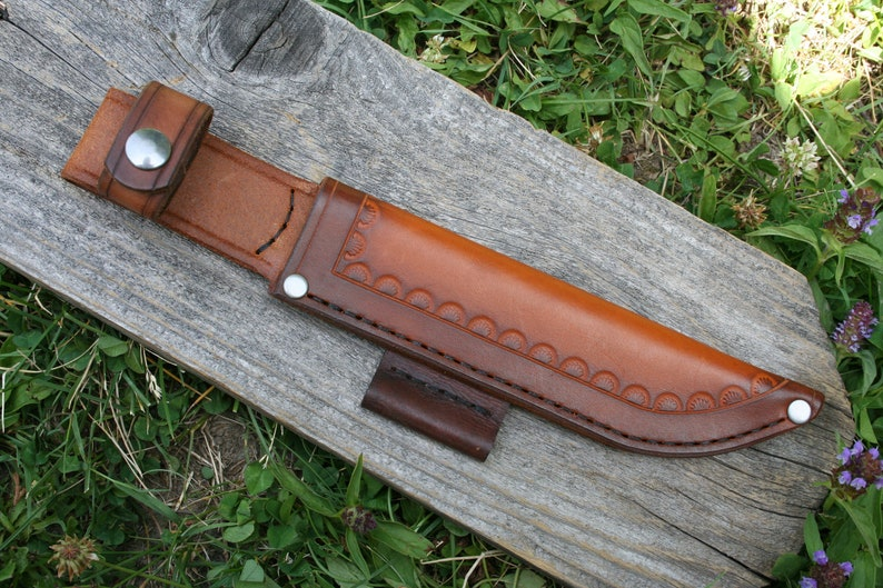 Leather Knife Sheath for Ka-Bar USMC Knife - Custom Holster Handmade in USA  -