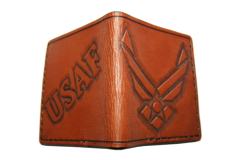ef6bed4eeb184 Tooled Leather Wallet - Air Force Wallet - Hand Carved - Bifold - Made In  The USA