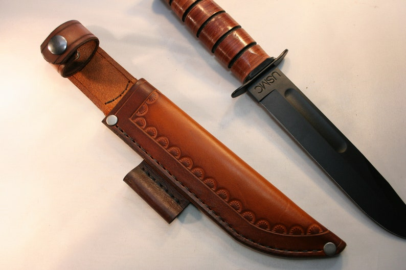Leather Knife Sheath for Ka-Bar USMC Knife - Custom Holster Handmade in USA  -