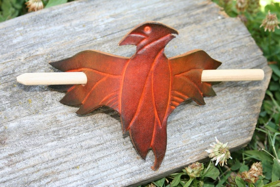 Leather Hair Pin Hair Tie Hawk With Wood Slide Stick  Barrette Bird Eagle