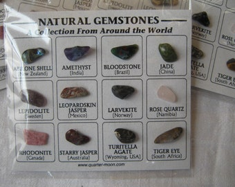 Rock Collection, 12 Natural Gemstones from Around the World, tumble polished semiprecious stones & minerals on identification card
