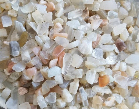 Moonstone Tiny Gemstone Pebbles, undrilled chips  lot of 100 tumbled stones, Moonstone feldspar small pieces for crystal grids, orgonite