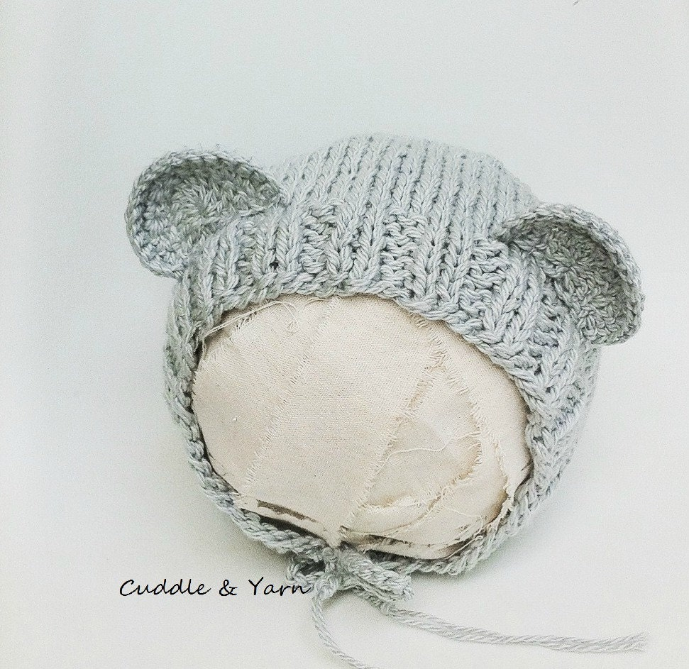 bc4a0079d9b Knit Teddy Bear Bonnet Newborn Grey Soft Organic Cotton Teddy