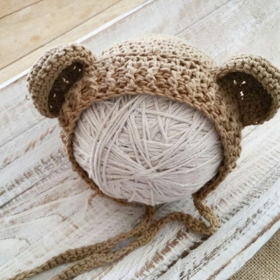 13b7aeb3afa Crochet Teddy Bear Bonnet Newborn light brown Organic Cotton
