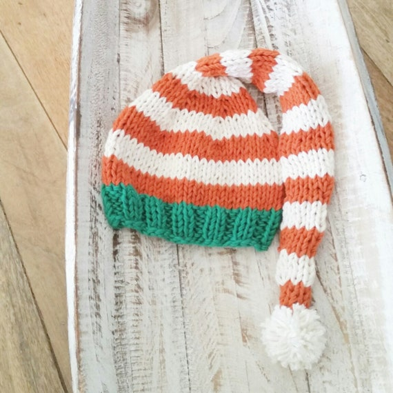 a94037951d1 Newborn cotton knit Christmas hat Elf Baby Hat Pom pom in