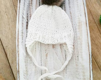 Knit Baby hat,  baby cotton hat earflaps aviator, Knit Baby Cream Beanie in cotton or wool with faux fur pom pom, Newborn Photo Prop.