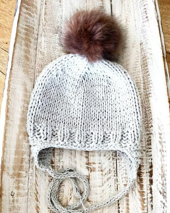 c77e5ccbb31 Knit Baby Boy Beanie Grey Earflap Aviator Baby Hat Knit Baby