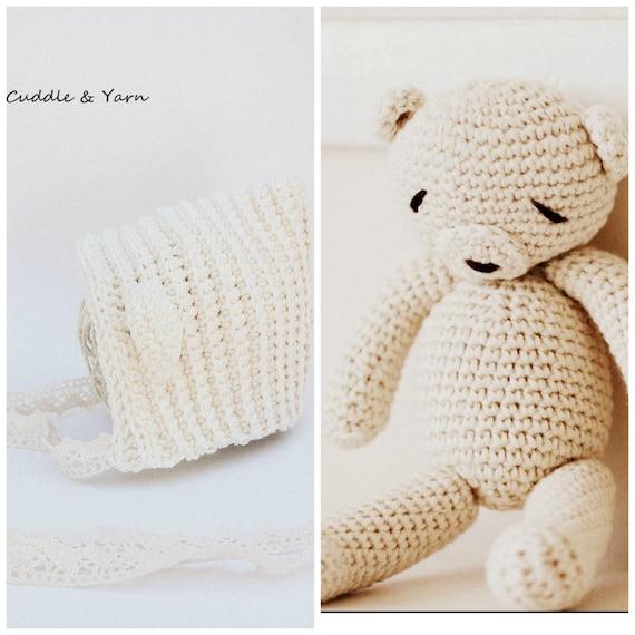 Sistema recién nacido del bebé, oso de peluche de ganchillo y Crochet Pixie  Bonnet, oso Amigurumi, recién crema foto Natural, recién apoyo ...