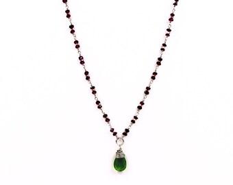 Green and Garnet Drop Chain
