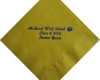 Graduation Beverage Napkins with School Name, Student Name and Year - Class of 2020