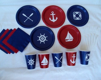 Nautical Party Tableware Set for 5 People