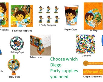 Diego Party Plates Napkins Tablecover Cups Loot Bags Banner Invitations Thank You Notes Cone Hats Candle Blowouts Confetti Stickers