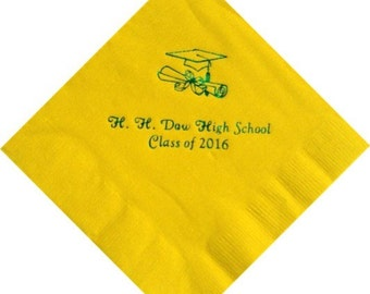 Personalized Graduation Beverage Napkins with Grad Cap Logo for Class of 2020