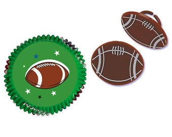 Football Baking Cups with Football Rings