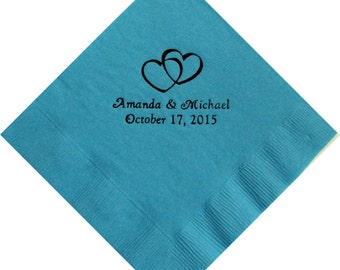 Personalized Beverage Napkins - Double Hearts