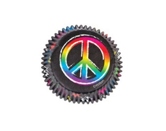 Peace Sign Baking Cups, Peace Sign Cupcake Papers
