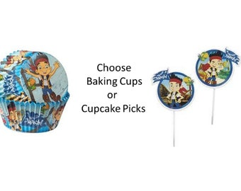 Jake and the Neverland Pirates Baking Cups, Jake and the Neverland Pirates Cupcake Papers, Jake and the Neverland picks