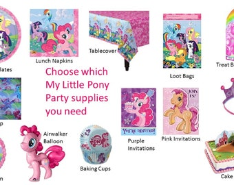 My Little Pony Plates, My Little Pony Napkins,  My Little Pony Balloons, My Little Pony Gift Wrap, My Little Pony Cake Decorating Kit