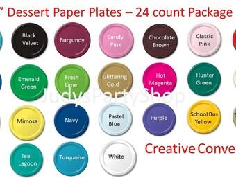 "7"" Dessert Paper Plates, Blue Plates, Black Plates, White Plates, Gold Plates, Silver Plates, Brown Plates, Red Plates"