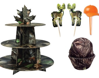 Tree Bark Cupcake Stand and 24 Tree Bark Baking Cups with Picks